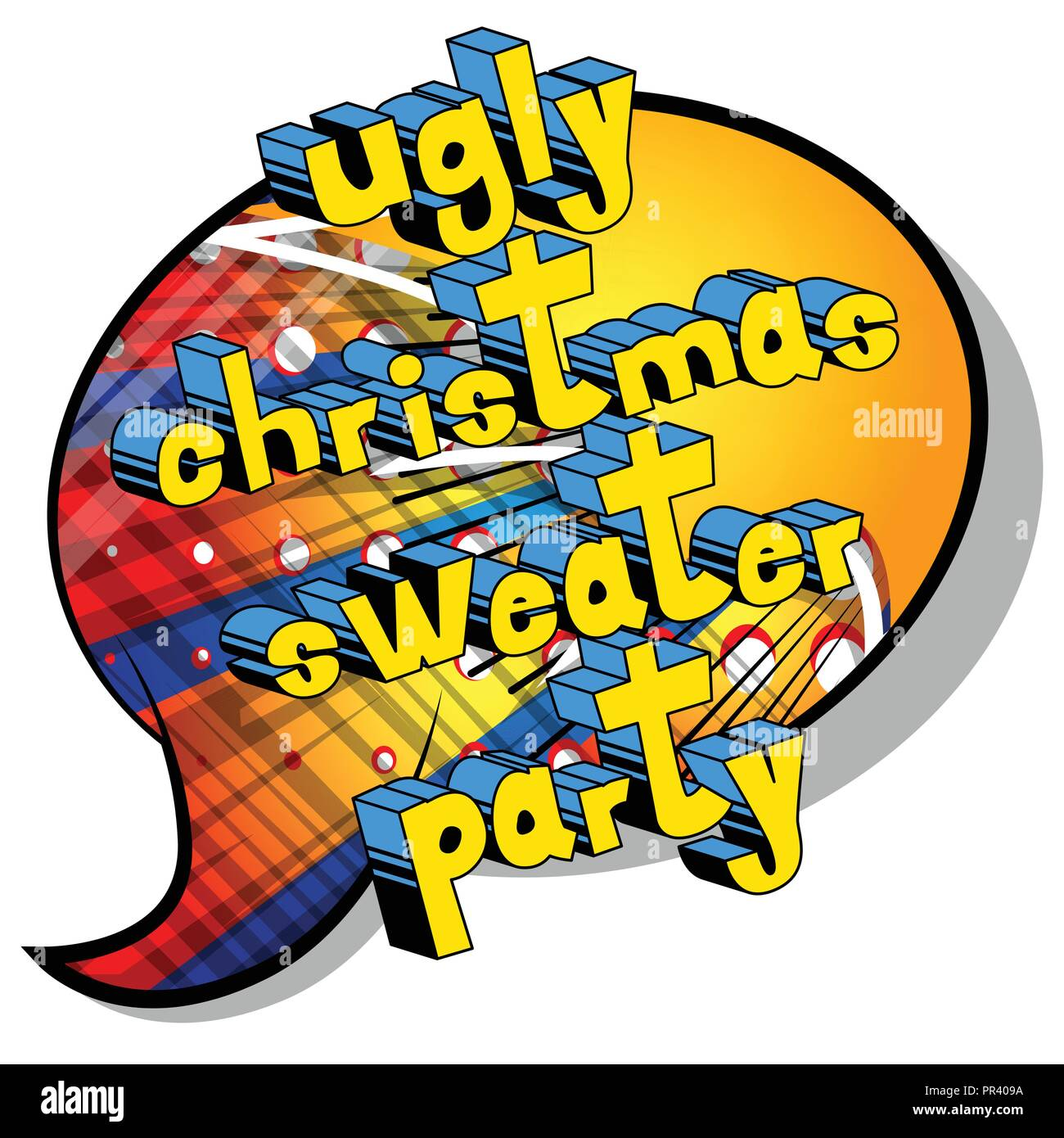 ef3f2c06ef Ugly Christmas Sweater Party - Vector illustrated comic book style phrase.  - Stock Image