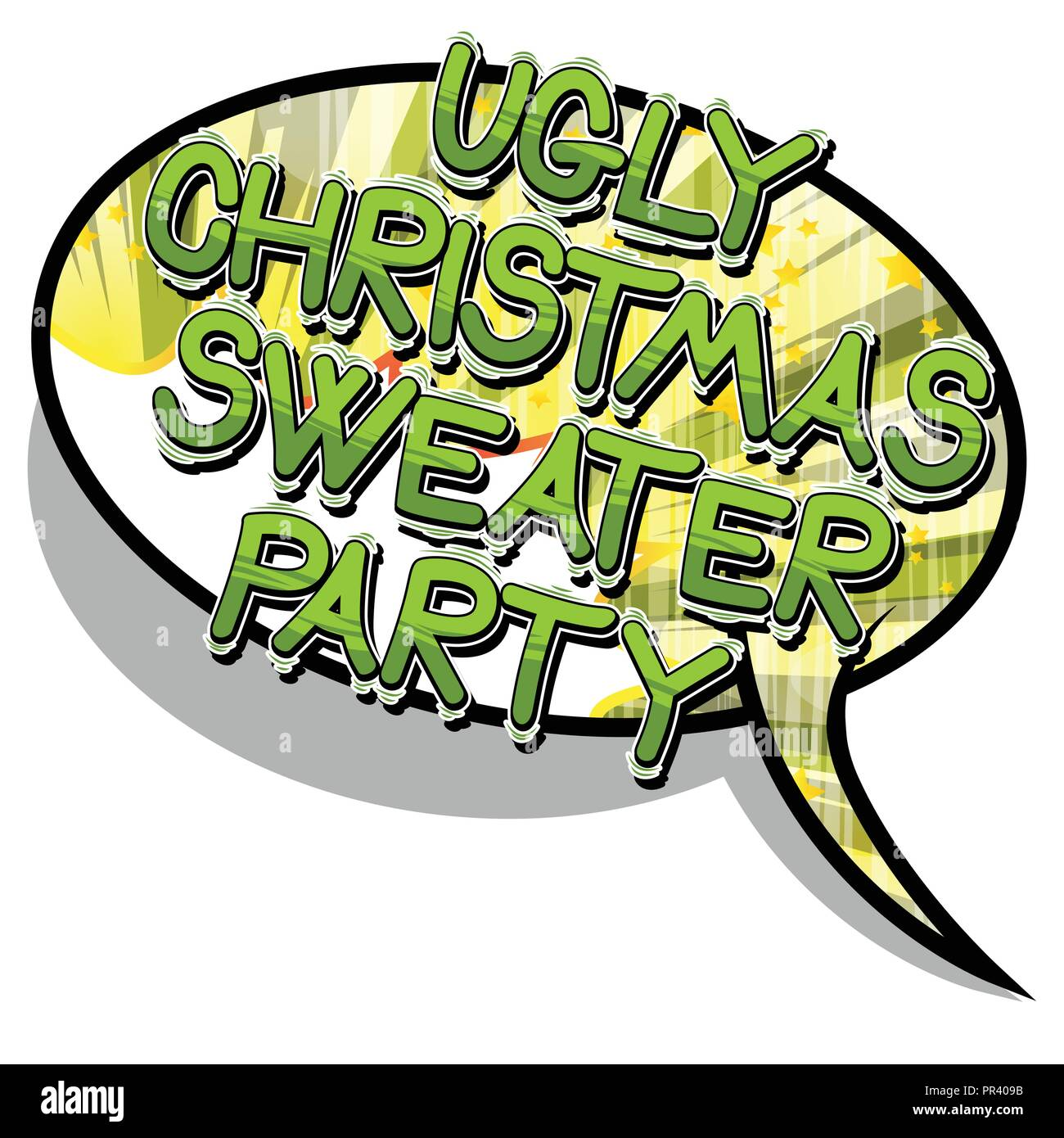 Ugly Christmas Sweater Cartoon.Ugly Christmas Sweater Party Vector Illustrated Comic Book