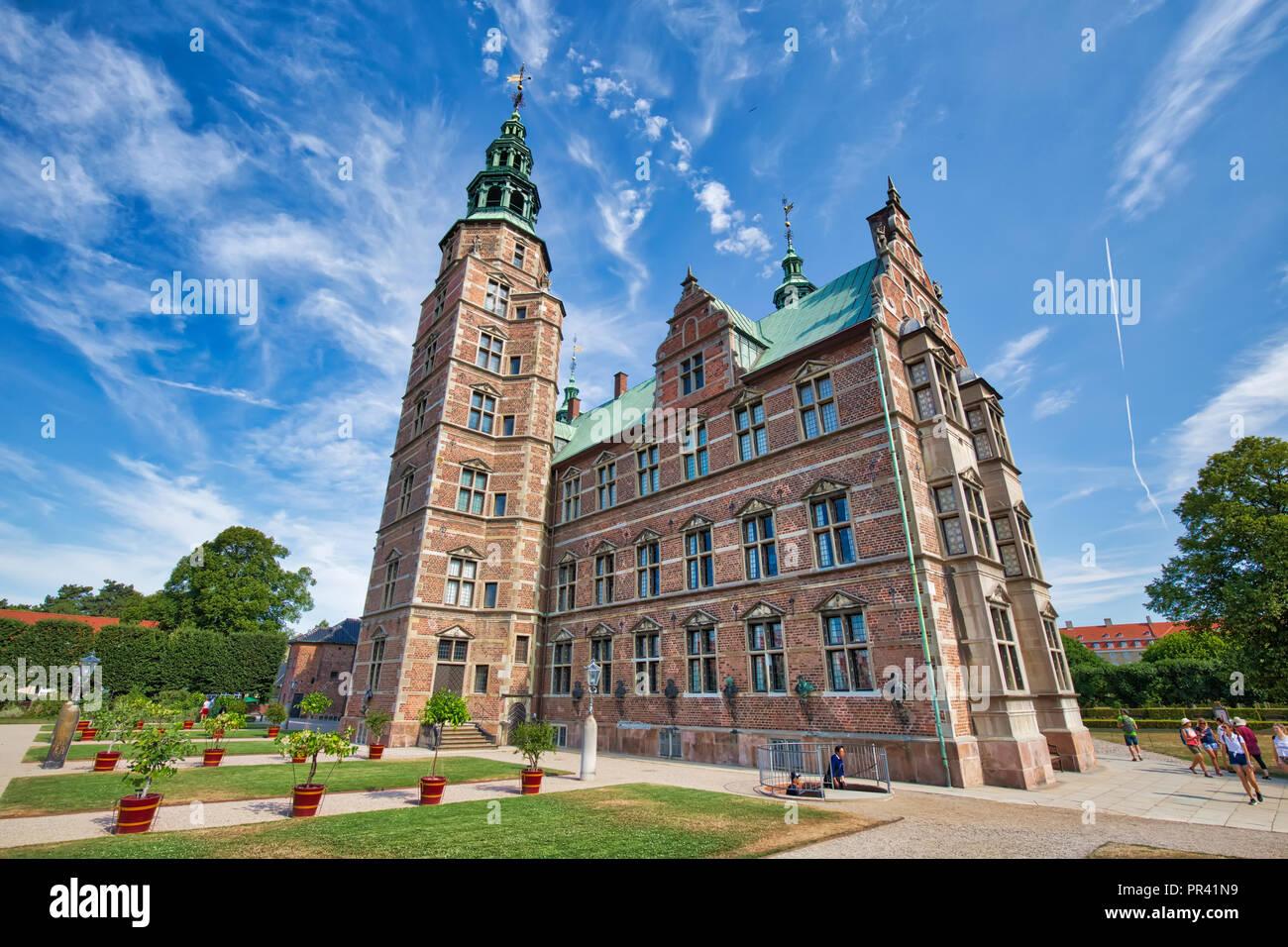Copenhagen, Denmark-3 August, 2018: Famous Rosenborg castle, one of the most visited castles in Copenhagen - Stock Image