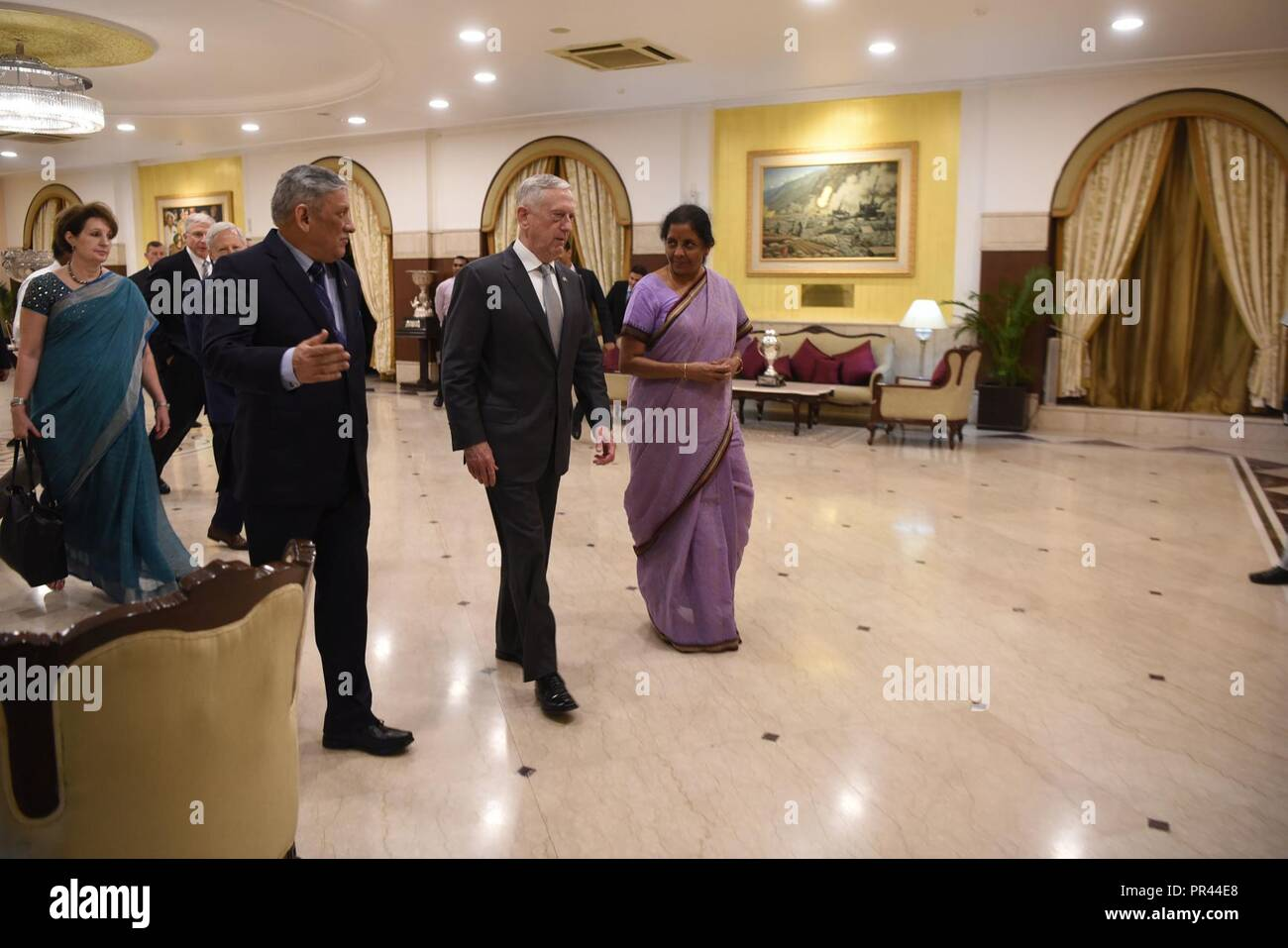U.S. Secretary of Defense James N. Mattis meets with Indian Defense Minister Nirmala Sitharaman at an Indian Ministry of Defense-hosted dinner at the Army Battle Honours Mess building, New Delhi, India, Sept. 6, 2018. Mattis was in India for the first ever U.S.-India 2+2 ministerial dialogue. Stock Photo