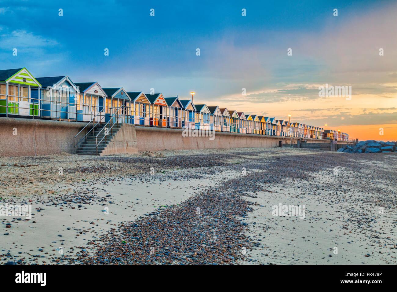 Beach huts at Southwold, Suffolk, England, at sunrise. Stock Photo