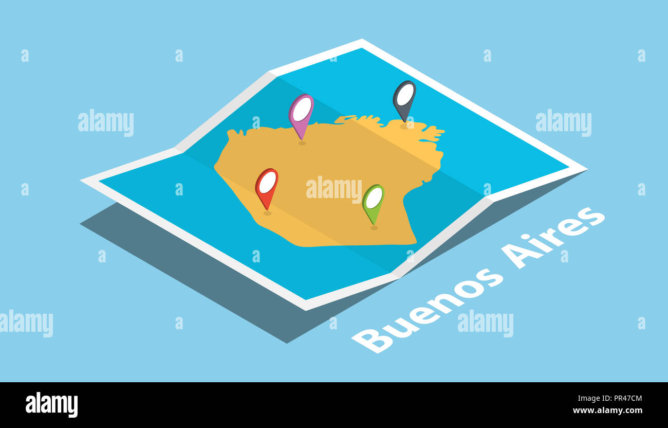 Buenos Aires Location On World Map.Buenos Aires Explore Maps With Isometric Style And Pin Location Tag