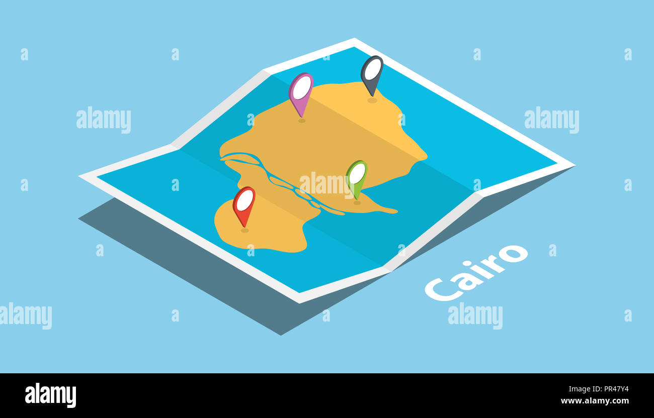 cairo egypt explore maps location with folded map and pin location on
