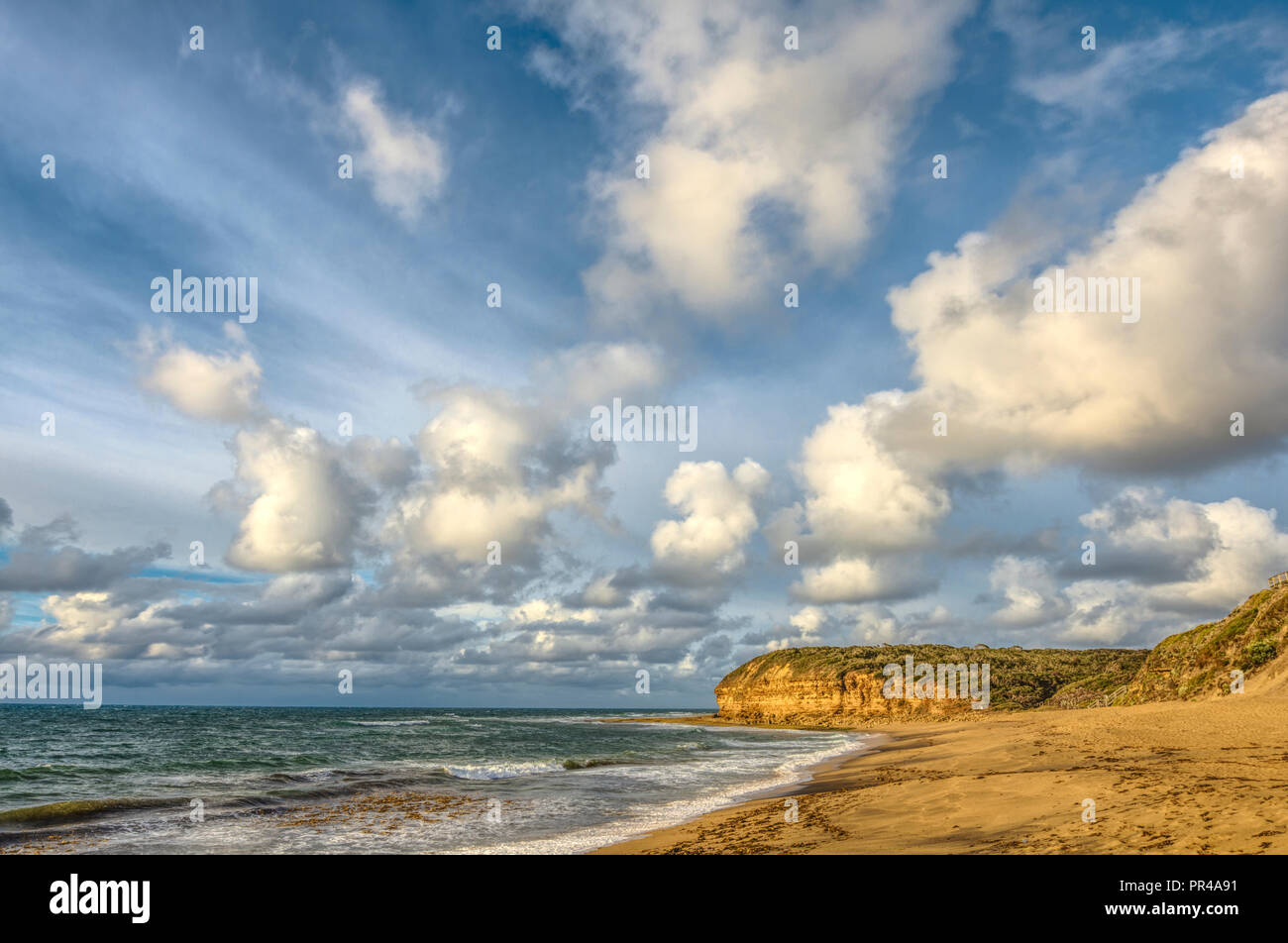 Bells Beach, Torquay, Surf Coast Shire, Great Ocean Road, Victoria, Australia, site of the annual Rip Curl Pro surfing contest, held each Easter. - Stock Image