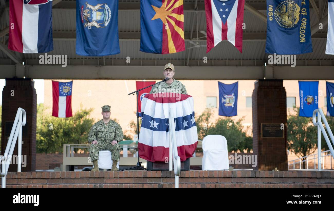 KINGS BAY, Georgia (Sept. 11, 2018)  Rear Adm. Jeff Jablon, commander, Submarine Group 10, delivers remarks during a 9/11 memorial ceremony at Naval Submarine Base Kings Bay.  The base is home to six of the Ohio-class ballistic-missile submarines that make up the most survivable leg of the nuclear missile triad. - Stock Image
