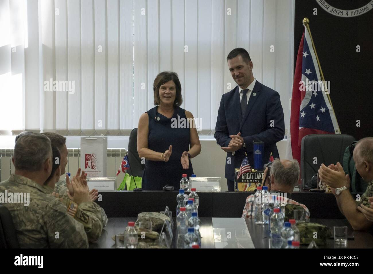 U.S. Air Force Maj. Gen. Mark E. Bartman, Ohio Adjutant General, and his Ohio National Guard delegation team visit Kraljevo, Serbia, as Mayor of South Euclid, Georgine Welo, and Mayor of Kraljevo, Predrag Terzić sign a memorandum of understanding between the two newly formed sister cities, Sept. 7, 2018. CAPSTONE 2018 is the annual culmination of the year's events to highlight the Serbian-OHNG partnership, which will focus on garrison command, chaplain, medical planning and distinguished leader meetings between key senior members from the Ohio National Guard and Serbia. - Stock Image