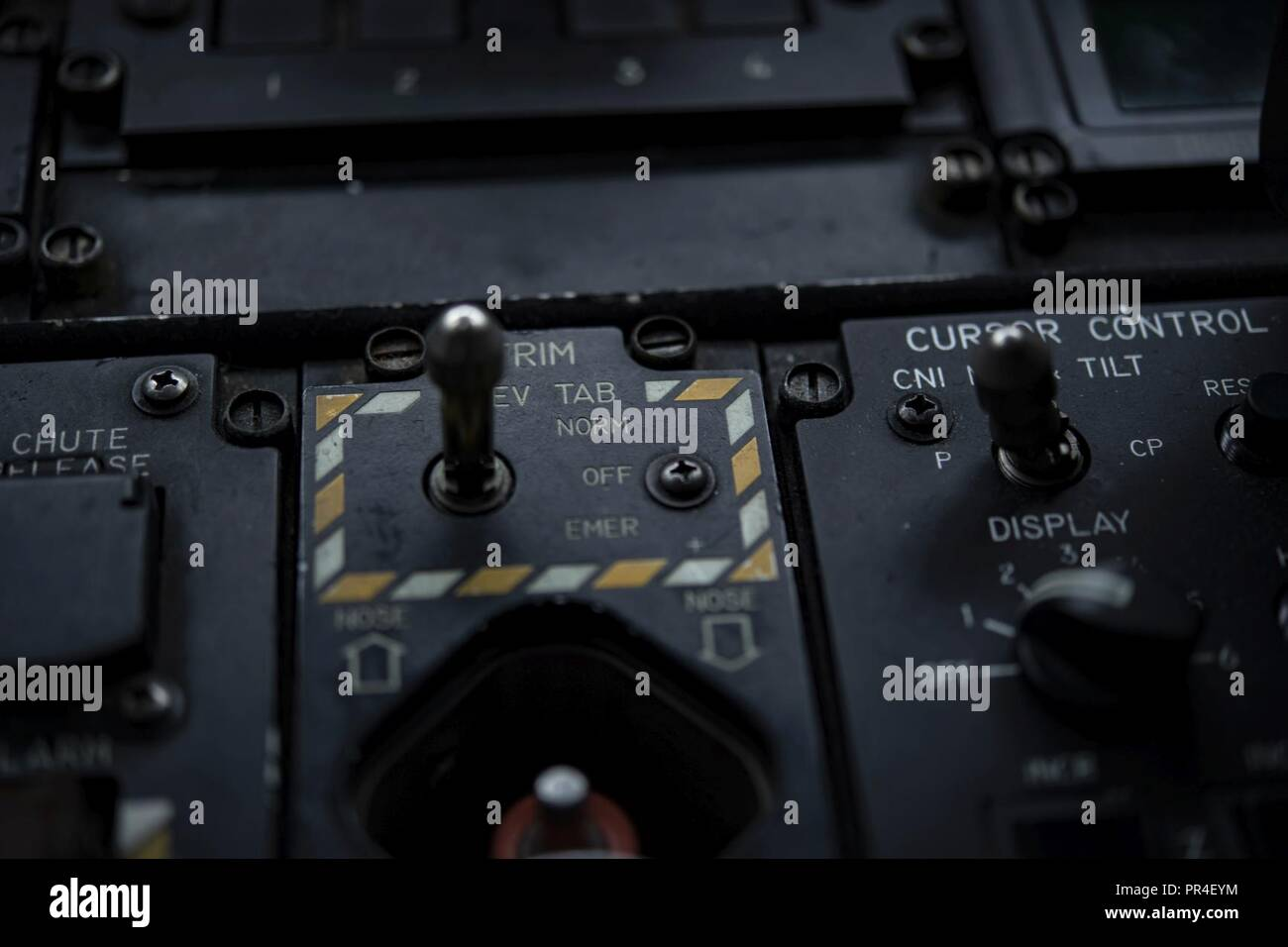 A U.S. HC-130J trim switch sits ready during a Hurricane Hunter Savanah Air National Guard Base, Savanah, GA Airport, September 12, 2018. The U.S. Air Force Reserve 53rd Weather Reconnaissance Squadron, or Hurricane Hunters, is conducting a storm tasking mission into Hurricane Florence, currently a category 4 storm. The tasking provides critical and timely weather data for the National Hurricane Center to assist in providing up-to-date and accurate information for storm forecasts. - Stock Image