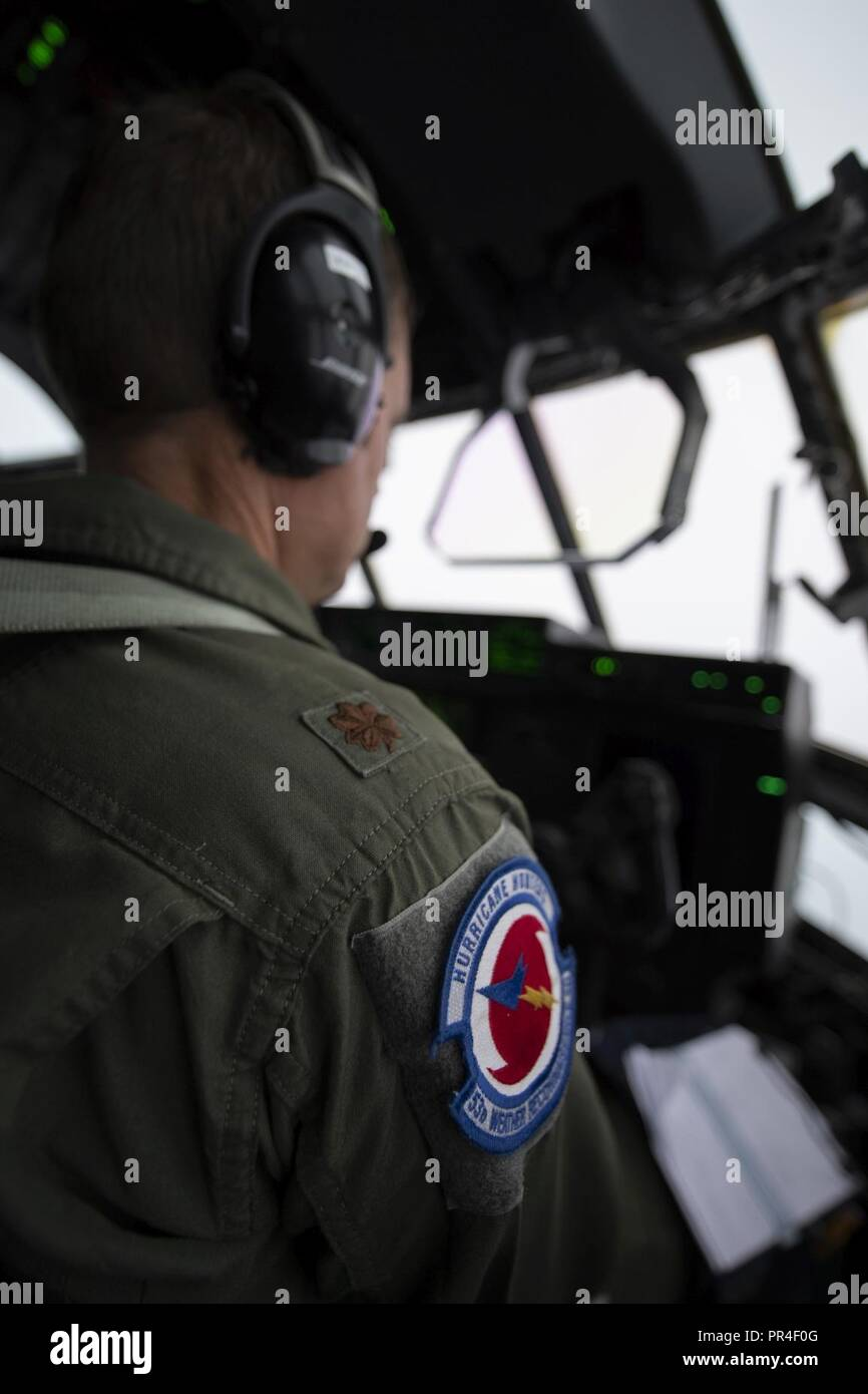 The Hurricane Hunter patch on the right arm of Major Stephen Pituch. The Hc-130 that he flys took off from the Savanah Air National Guard Base, Savanah, GA Airport, September 12, 2018. The U.S. Air Force Reserve 53rd Weather Reconnaissance Squadron, or Hurricane Hunters, is conducting a storm tasking mission into Hurricane Florence, currently a category 4 storm. The tasking provides critical and timely weather data for the National Hurricane Center to assist in providing up-to-date and accurate information for storm forecasts. - Stock Image