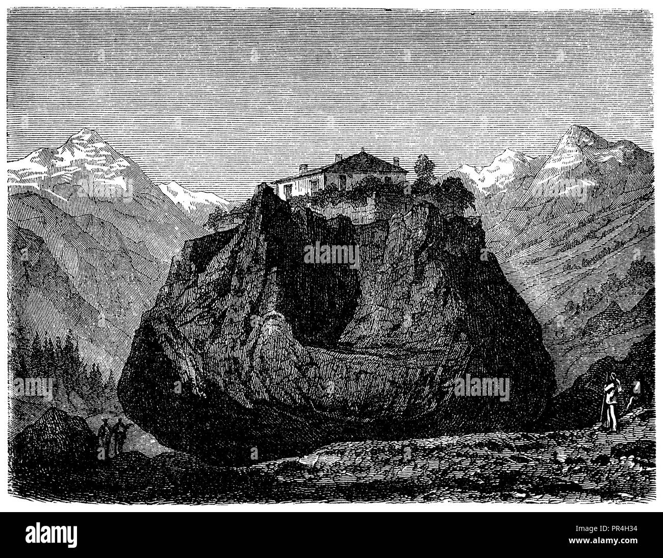 Hiking block near Monthey,   1874 - Stock Image