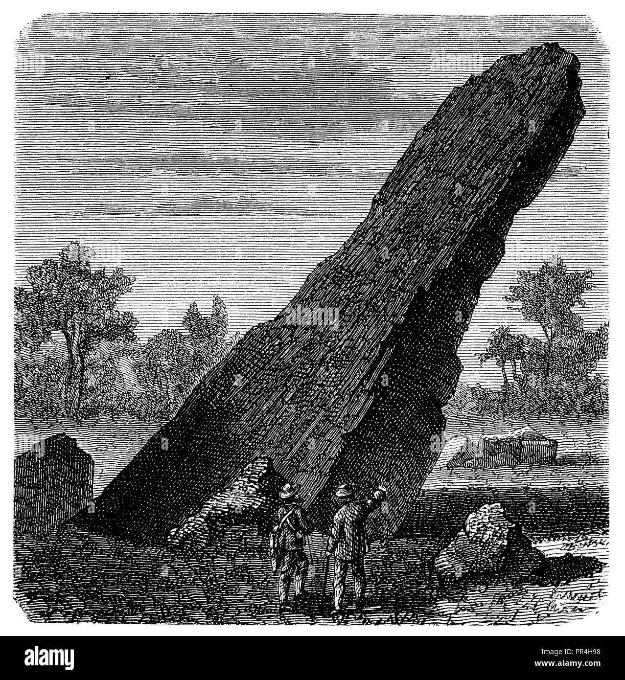 In front of the Teufelsstein. Erratic block of Jurassic limestone on slate (Pyrenees). Original drawing by E. Collomb,   1874 - Stock Image