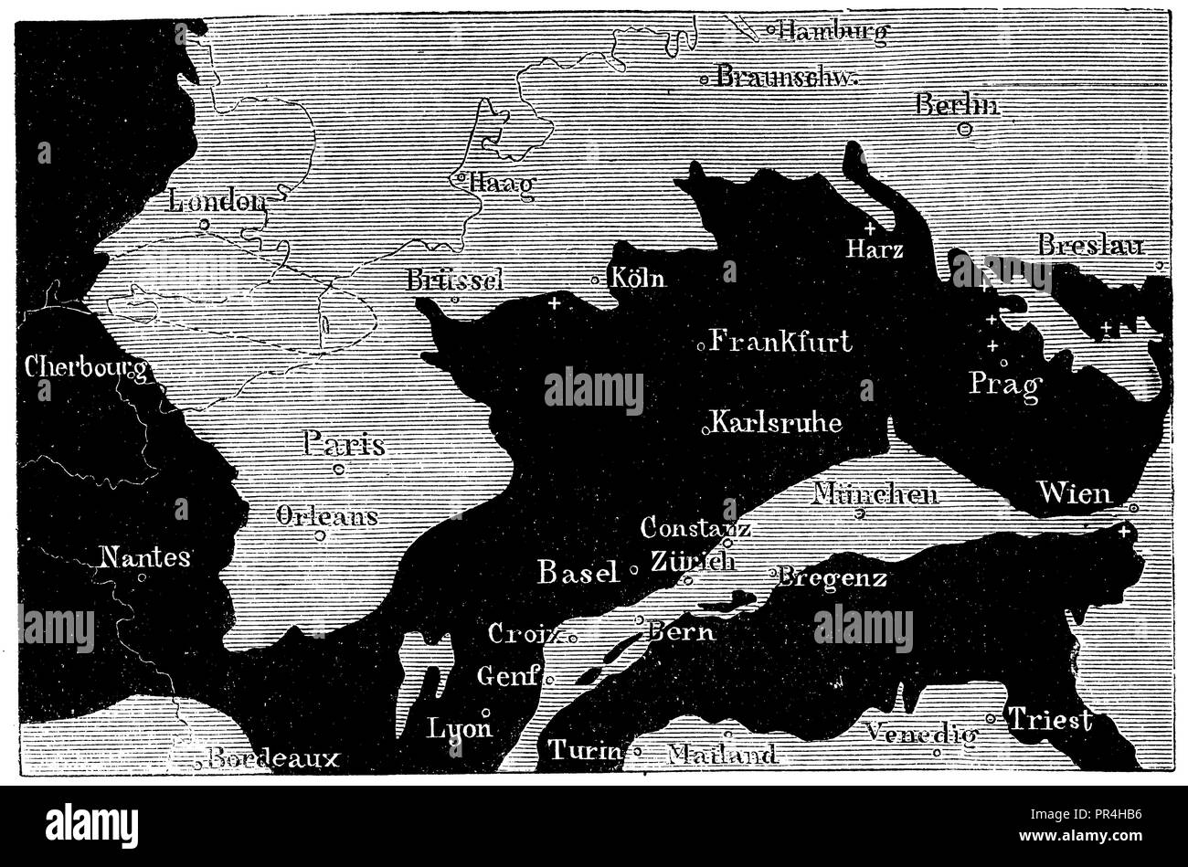 Central Europe at the time of the Cretaceous,   1874 - Stock Image