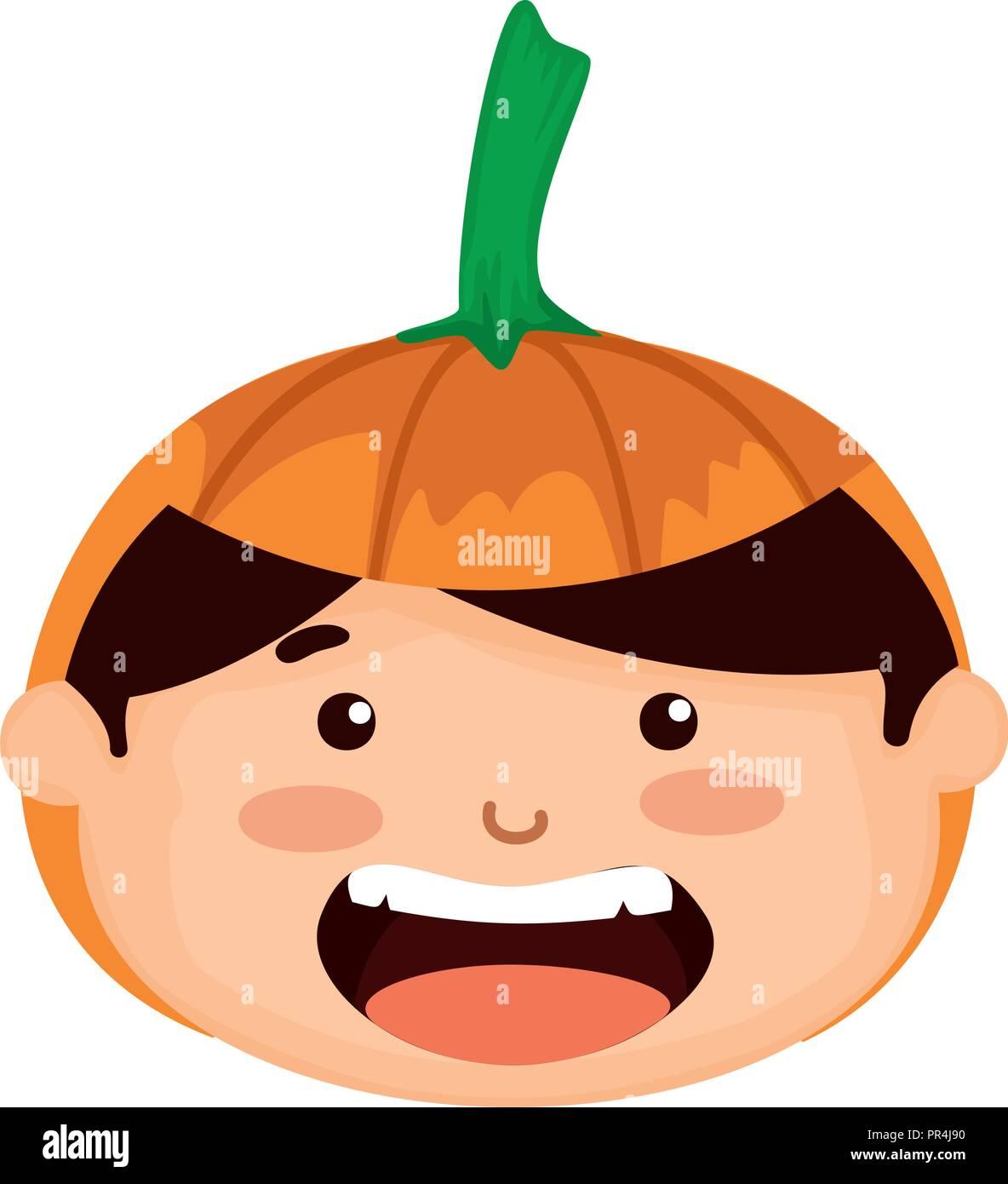 Halloween Pumpkin Vector Art.Head Boy Dressed Up As A Halloween Pumpkin Vector