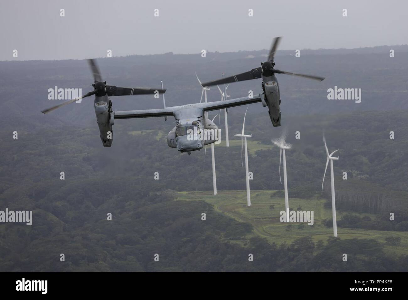 An MV-22 Osprey aircraft assigned to Marine Medium Tiltrotor Squadron 363 (VMM-363), flies over jungle terrain during a confined area landing exercise near the Kahuku Training Area, Sept. 13, 2018. The training provided an opportunity for pilots and crew chiefs to improve their proficiency and experience in flying around a tropical environment. Stock Photo