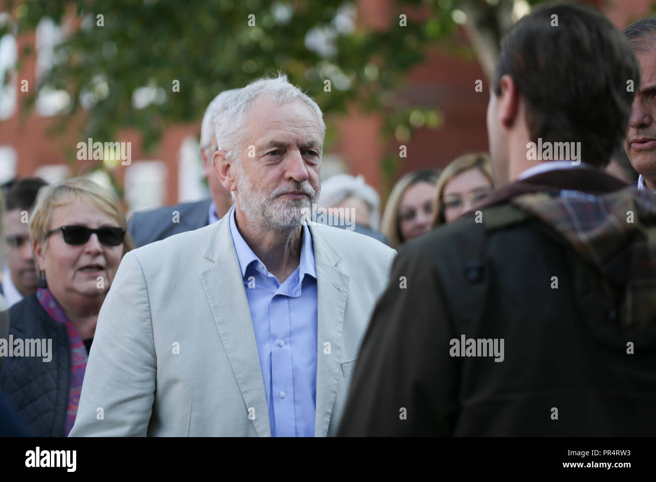 Halesowen, West Midlands, UK. 29th September, 2018. Labour leader Jeremy Corbyn arrives at a rally to gain support for Labour's campaign for the Halesowen and Rowley Regis constituency. Peter Lopeman/Alamy Live News - Stock Image