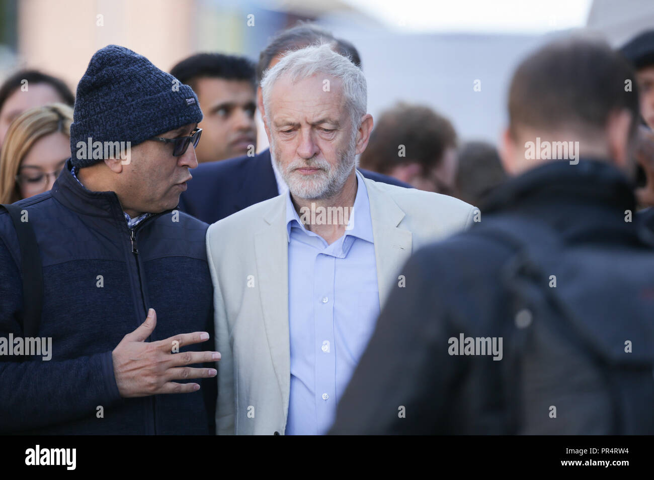 Jeremy CorbynHalesowen, West Midlands, UK. 29th September, 2018. Labour leader Jeremy Corbyn arrives at a rally to gain support for Labour's campaign for the Halesowen and Rowley Regis constituency. Peter Lopeman/Alamy Live News - Stock Image