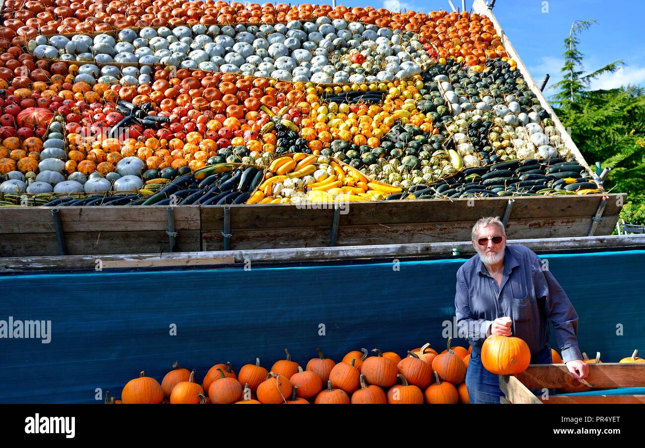 Slindon Village, West Sussex, UK. 29th September 2018. Annual Pumpkin Display Robin Upton stands in front of his pumpkin display, opening next week, which this year commemorates the hundredth anniversary of the RAF, the centenary of the Armistice and his family's 50 years of growing pumpkins. It runs from October to November (peaking around Halloween) and comprises of around 100 different varieties of pumpkin and squash.Credit Gary Blake/Alamy Live News Stock Photo