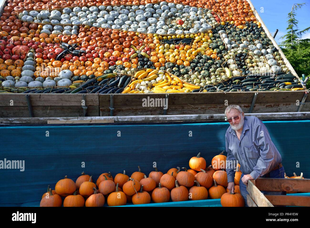 Slindon Village, West Sussex, UK. 29th September 2018. Annual Pumpkin Display Robin Upton stands in front of his pumpkin display, opening next week, which this year commemorates the hundredth anniversary of the RAF, the centenary of the Armistice and his familys 50 years of growing pumpkins. It runs from October to November (peaking around Halloween) and comprises of around 100 different varieties of pumpkin and squash.Credit Gary Blake/Alamy Live News Stock Photo