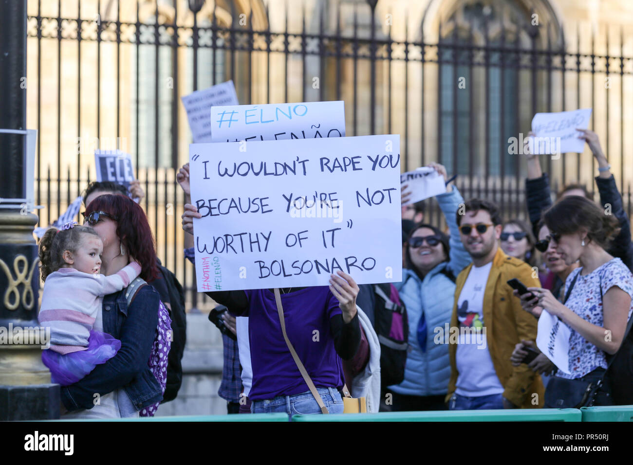 London, UK. 29th Sept, 2018. A demonstration organized by Brazilian women living in the UK against Jair Bolsonaro. He is running for president in the upcoming Brazilian elections although he stands out for his misogynist, racist, LGBTQ phobic and fascist positions. Penelope Barritt/Alamy Live News - Stock Image