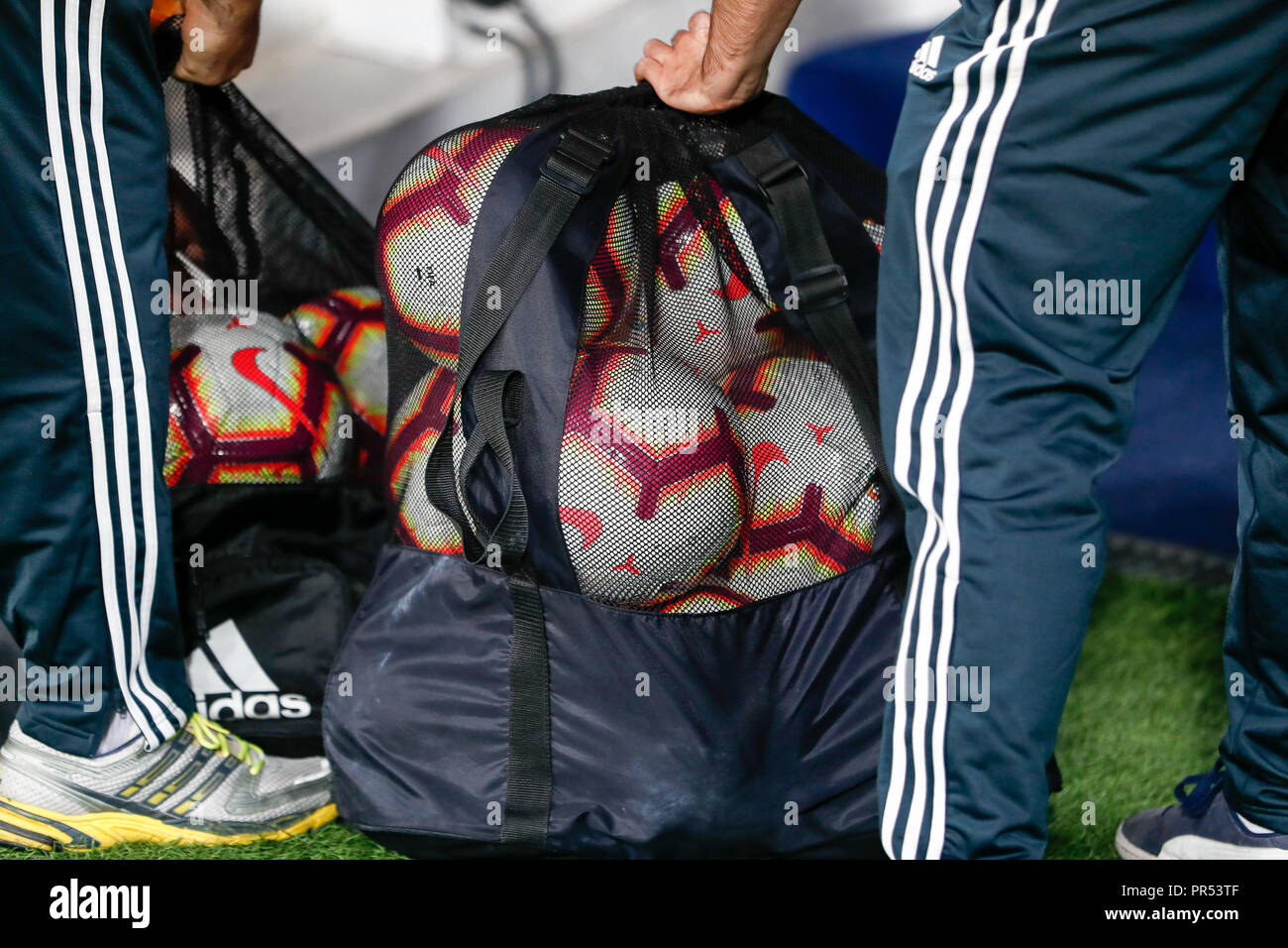ccae37815b0 Madrid, Spain. September 29, 2018 - Nike balls in ADIDAS bag during the