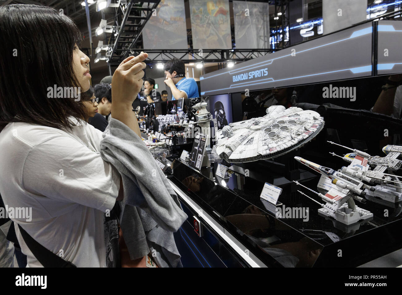 Tokyo, Japan  29th Sep, 2018  A woman takes a picture of Bandai Star