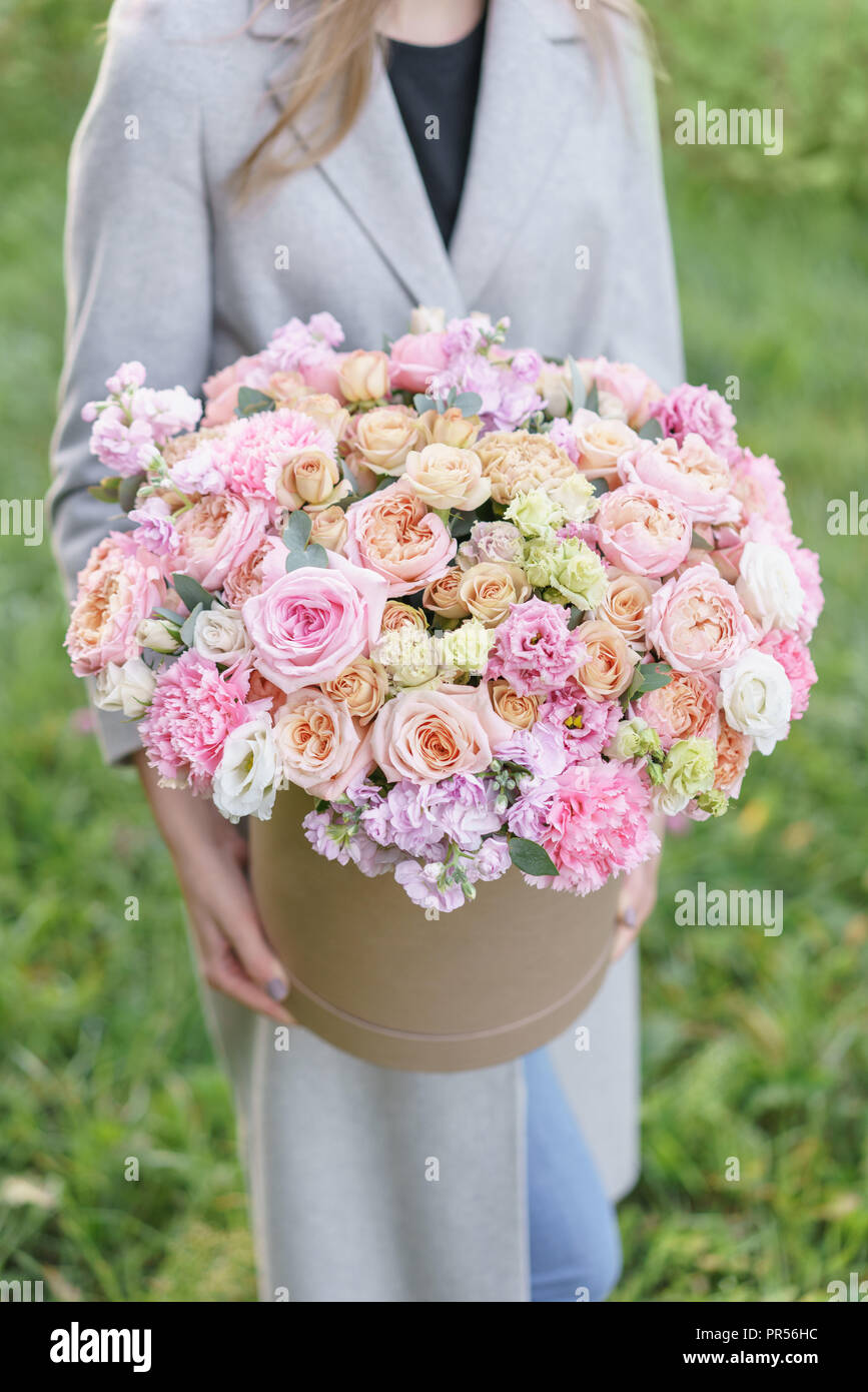 Beautiful Spring Bouquet In Round Box Arrangement With Various