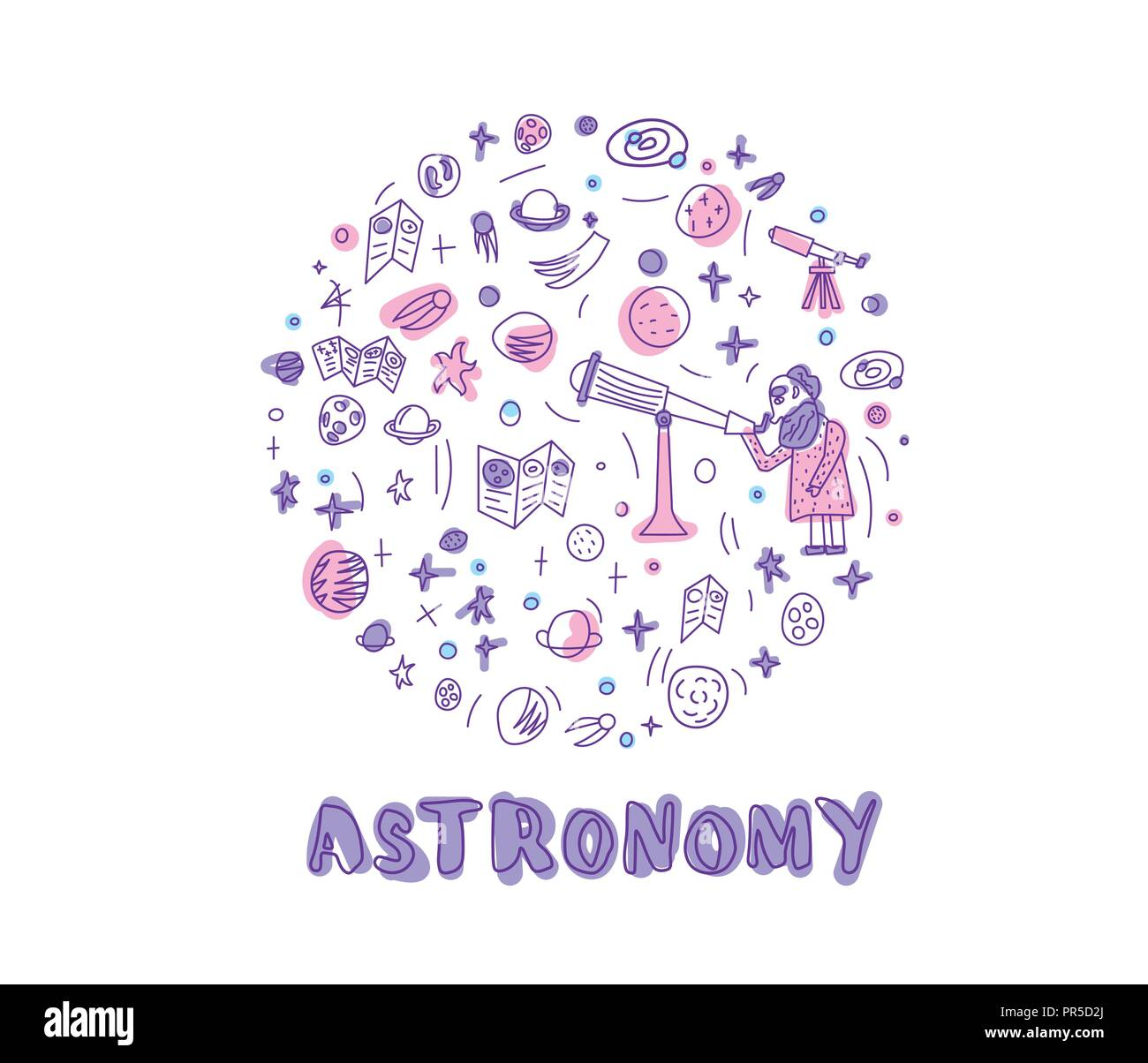 Vector design of astronomer and astronomic objects. Round handdrawn composition with handwritten lettering. - Stock Vector