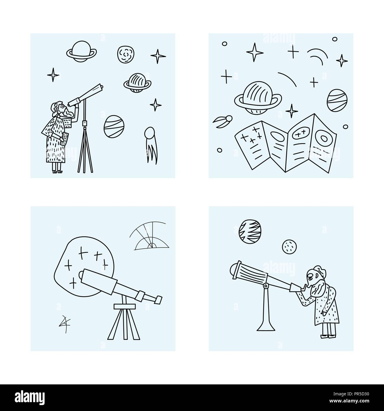 Vector design of astronomer and astronomic objects. - Stock Vector