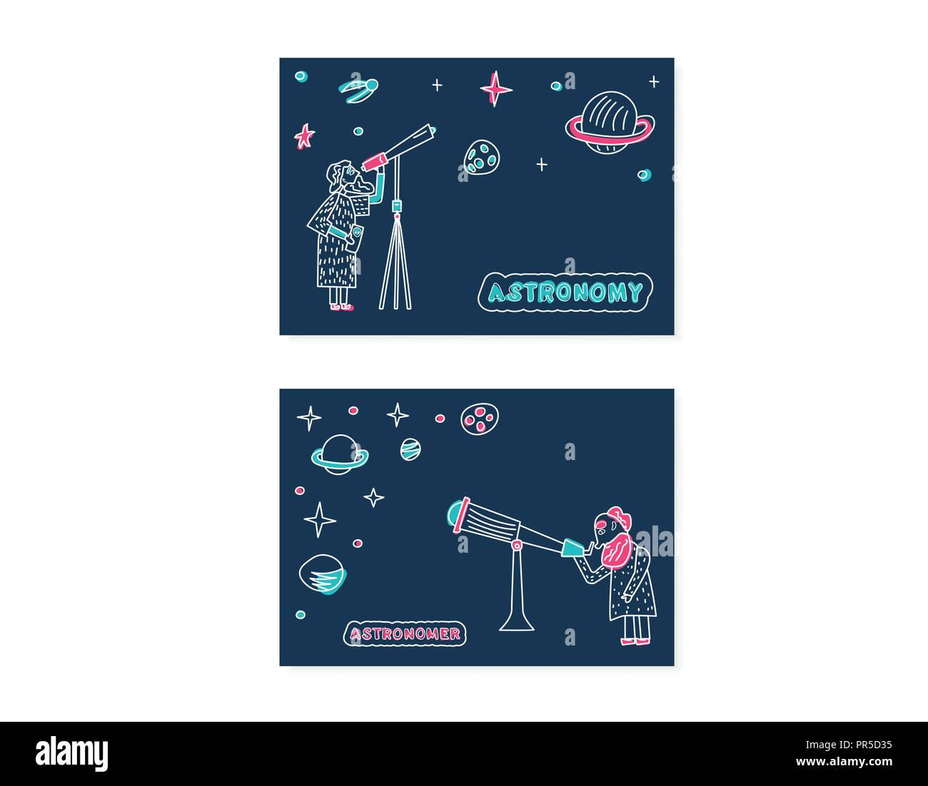 Astronom and Astronomy banners. Vector design of astronomic objects. Set of wo cards with handwritten letterind. - Stock Vector