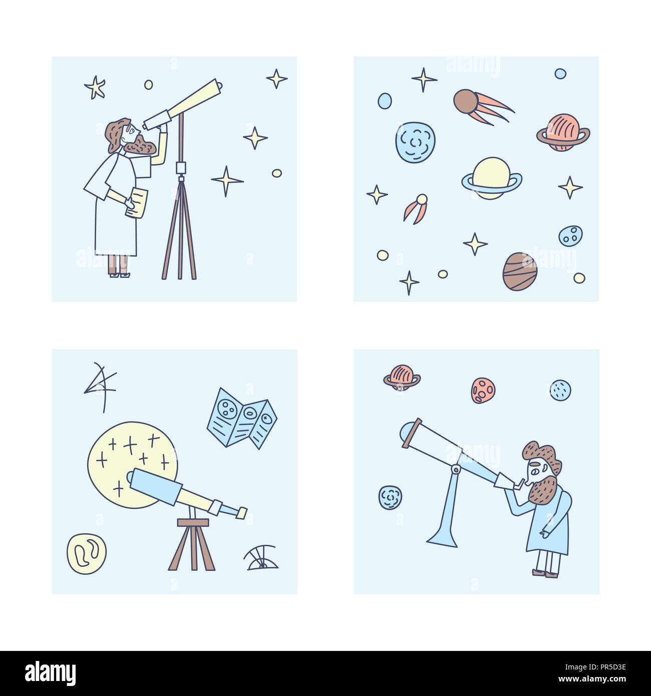 Vector set of design of astronomer and astronomic objects. - Stock Vector