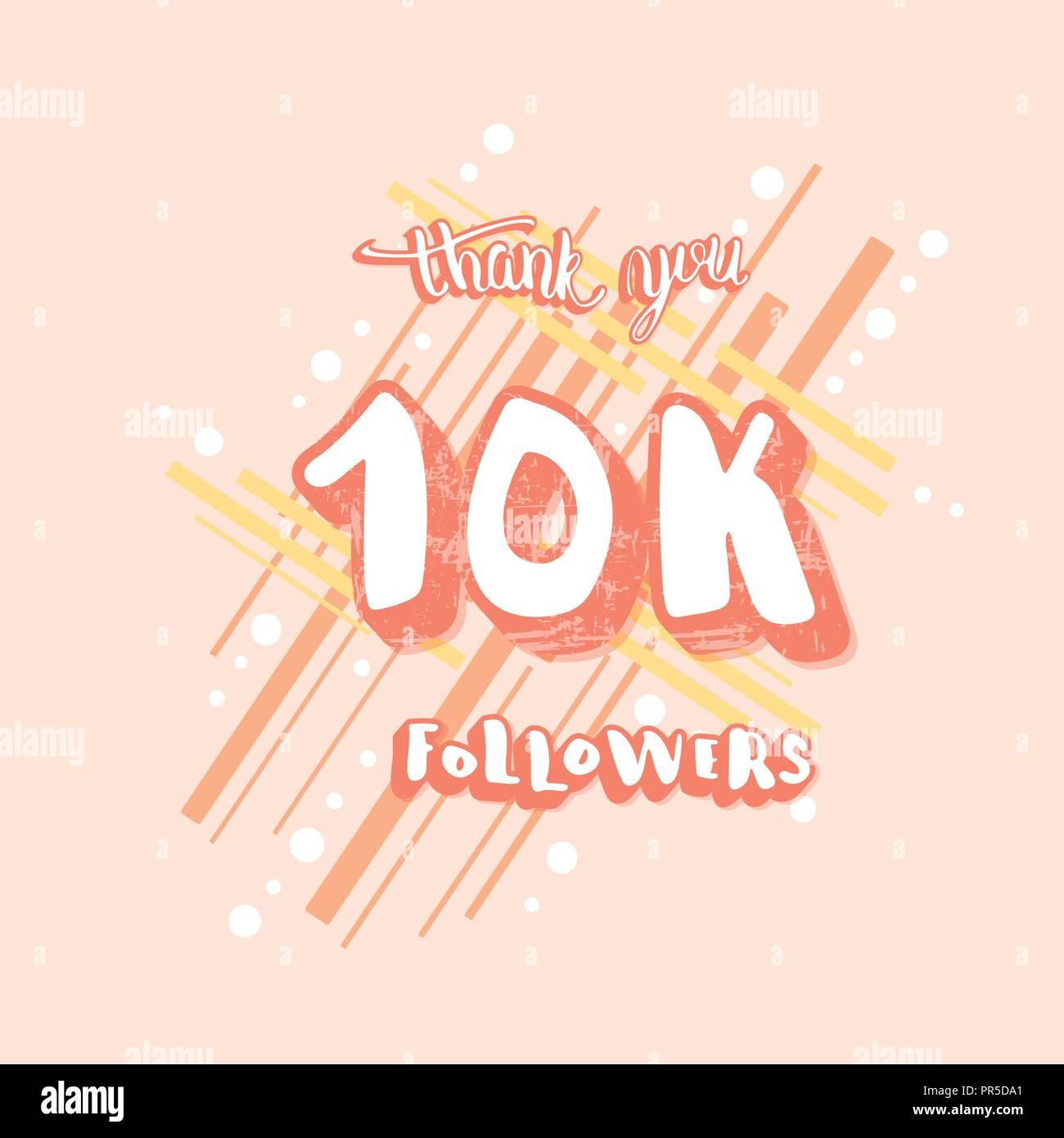 10k followers social media congratulation template trendy flat