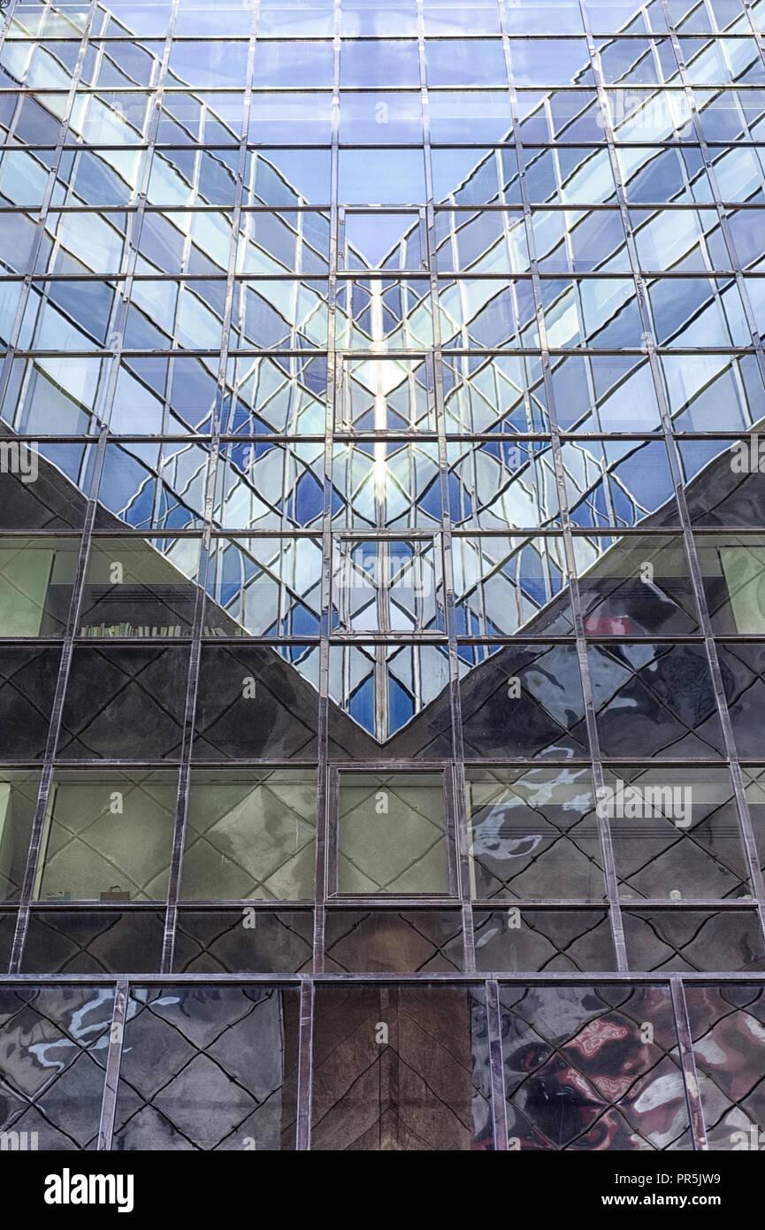 glass facade London abstract reflections Stock Photo