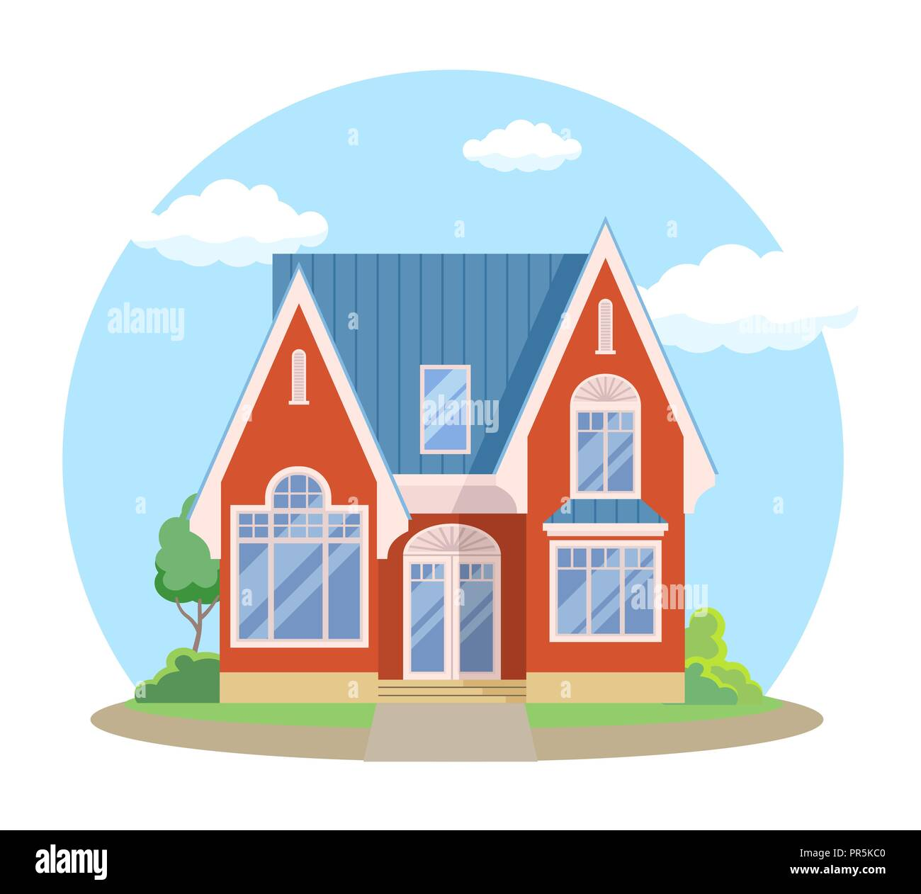 Red Cartoon House Exterior With Blue Clouded Sky Front Home Architecture Concept Flat Design Style Vector Illustration Of Facade Building Stock Vector Image Art Alamy