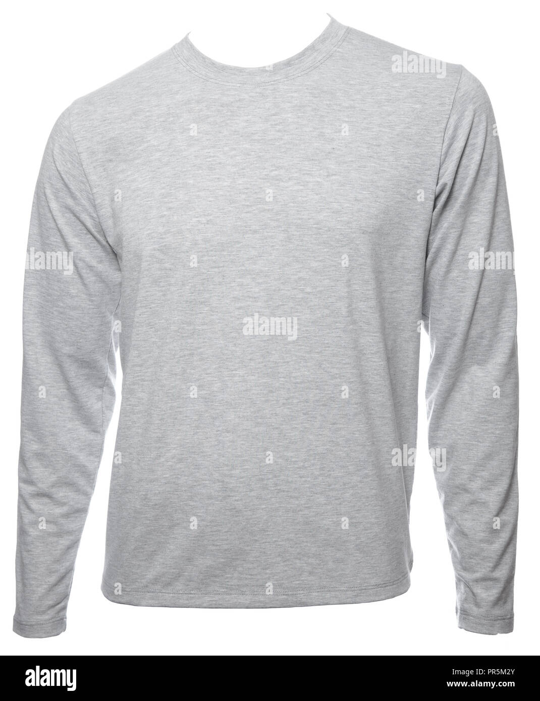 Grey Heathered Plain Long Sleeved Cotton T Shirt Template Isolated On A White Background