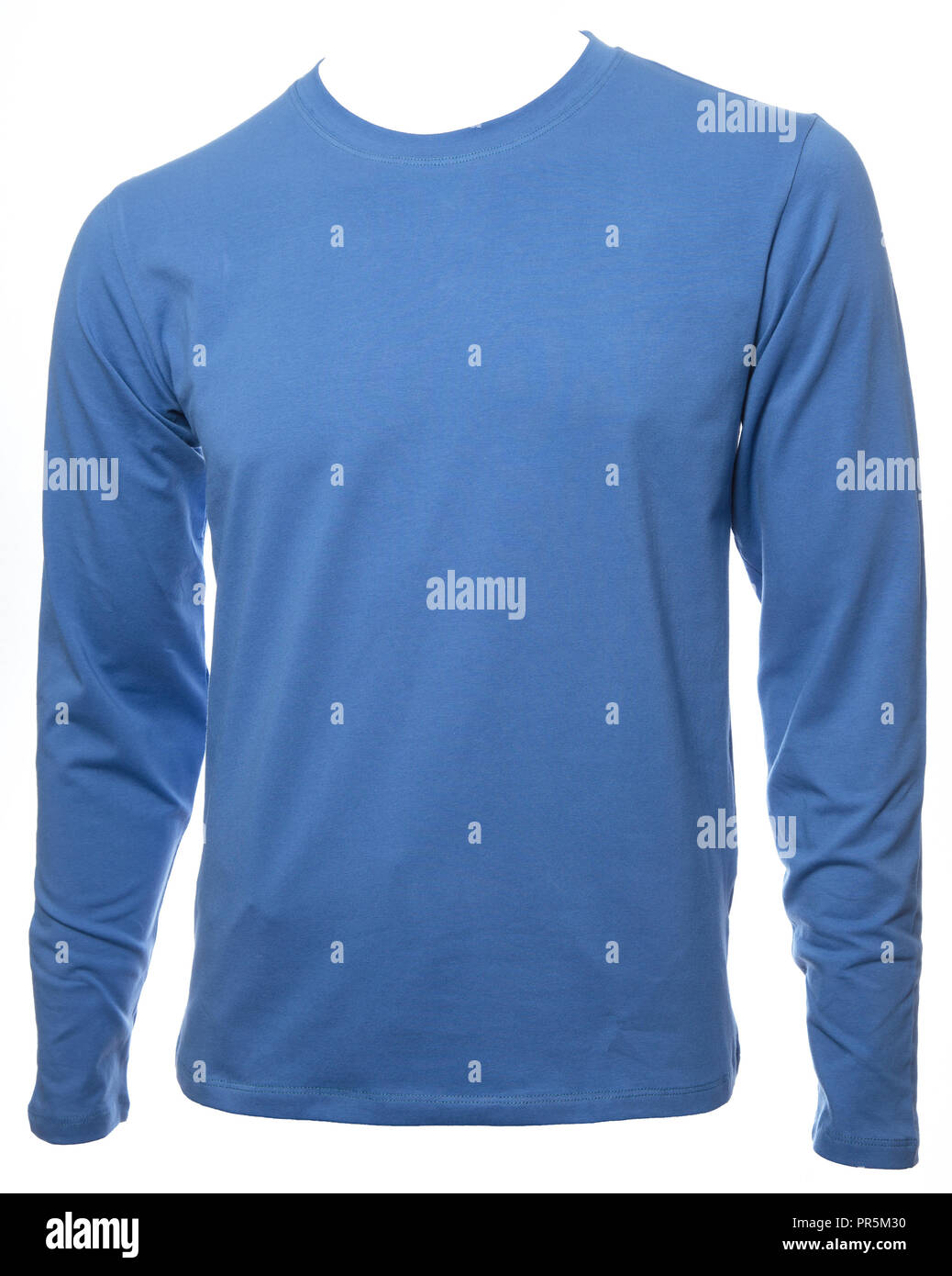 Blue Plain Long Sleeved Cotton T Shirt Template Isolated On A White