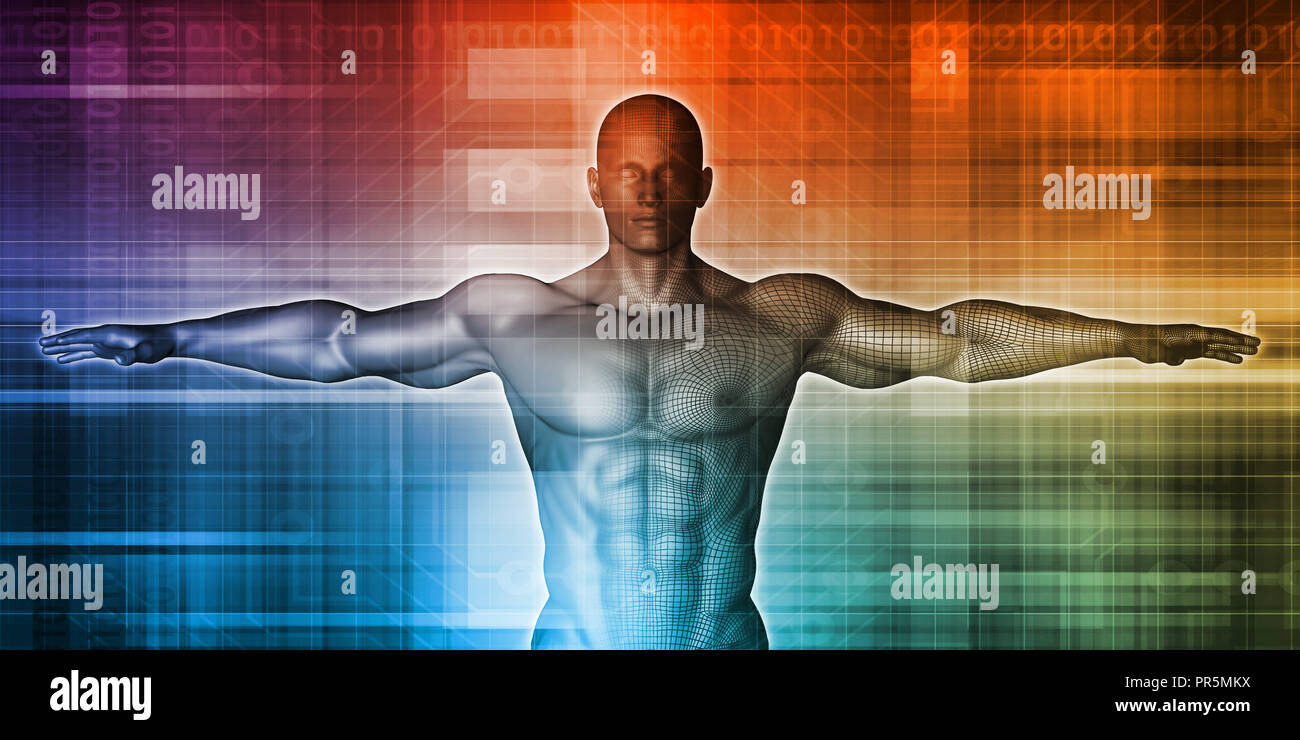Medical Background with Vetruvian Man Concept Art Stock Photo