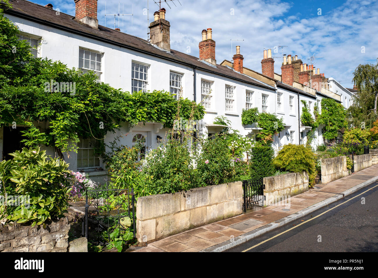 Typical English row of terraced cottages in Richmond London - Stock Image