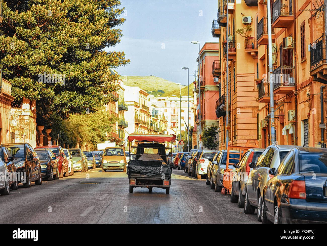 Rickshaw in the street on the road in Palermo, Sicily, Italy - Stock Image