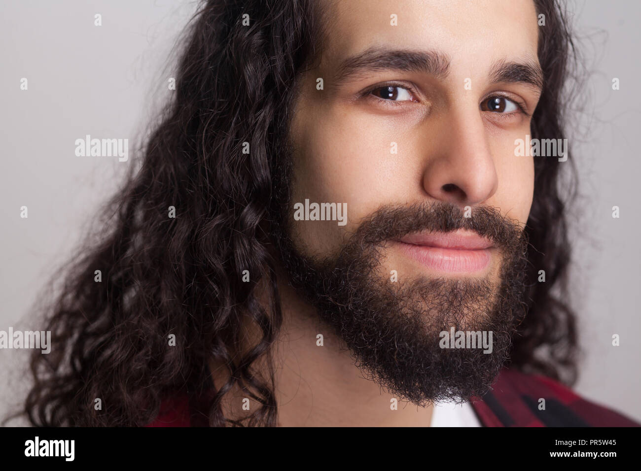 Superb Closeup Portrait Of Handsome Confident Man With Black Long Curly Schematic Wiring Diagrams Phreekkolirunnerswayorg