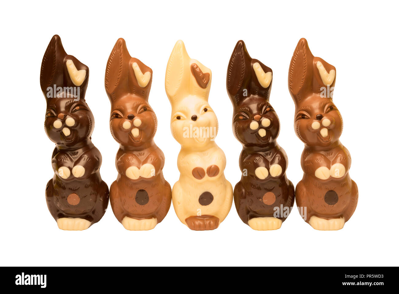 Five happy Easter bunnies in a row, isolated on a white background. Stock Photo