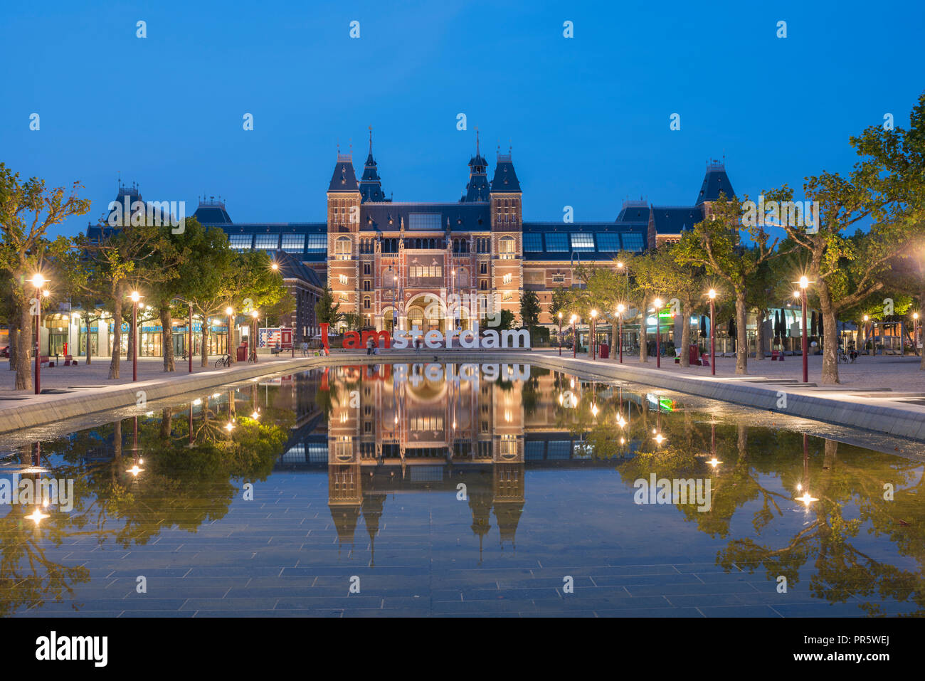 Rijksmuseum Amsterdam at the Museum Square (Museumplein) in Amsterdam, The Netherlands. Architect Pierre Cuypers. Stock Photo