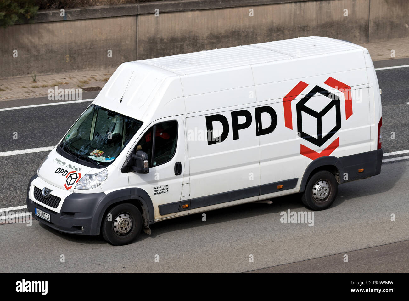 aa41c964088a94 DPD delivery van on motorway. DPDgroup is the international parcel delivery  network of French state