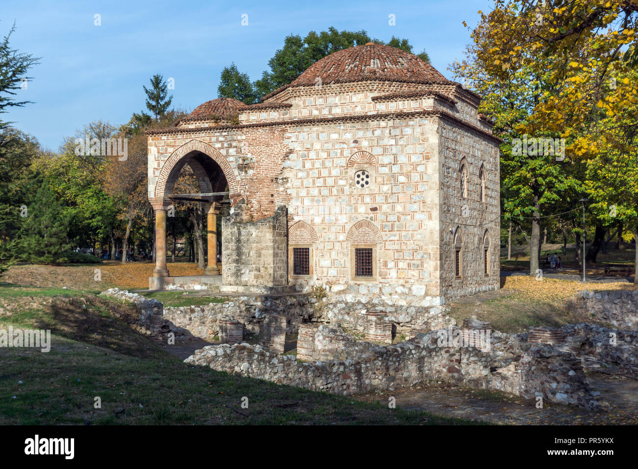 NIS, SERBIA- OCTOBER 21, 2017: Sunset view of Bali Beg Mosque in Fortress of City of Nis, Serbia - Stock Image