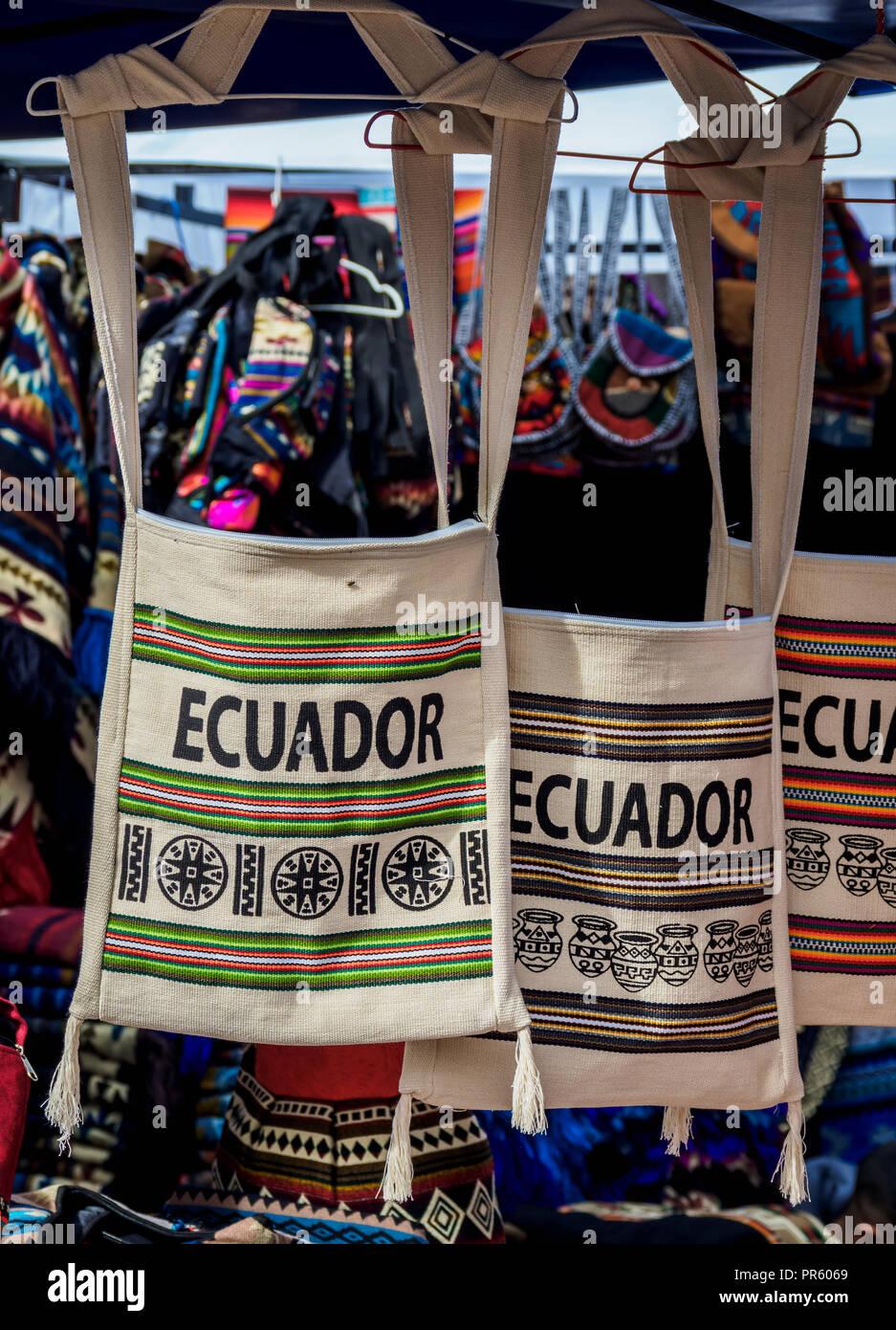 Saturday Handicraft Market, Plaza de los Ponchos, Otavalo, Imbabura Province, Ecuador - Stock Image