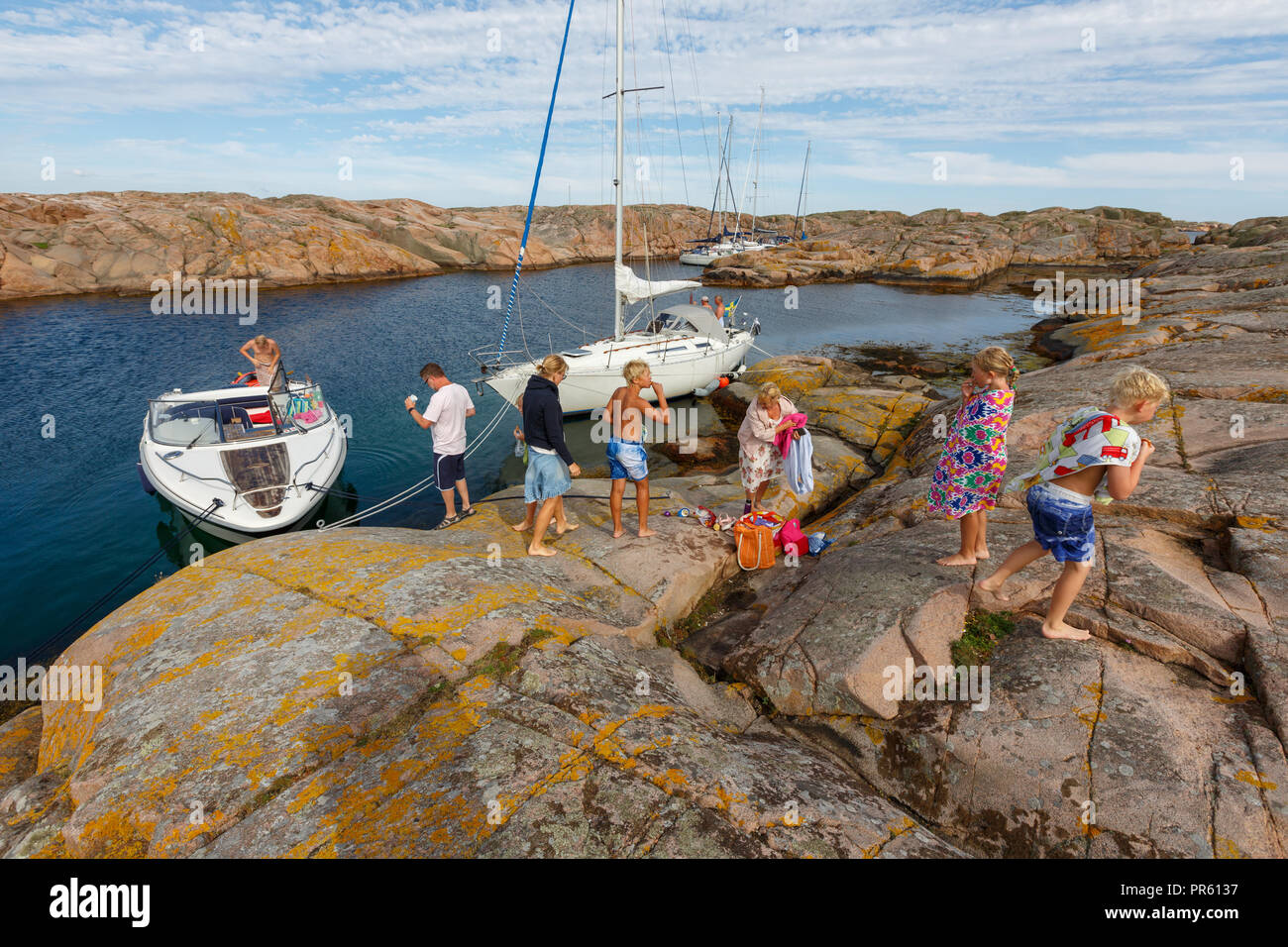 Full activity in the bath bay with rocks, - Stock Image