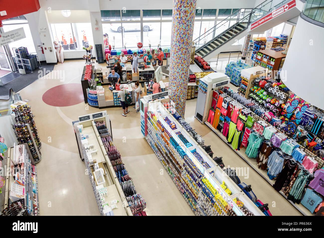 Miami Beach Florida Walgreens inside aisles display sale checkout counter cashier - Stock Image