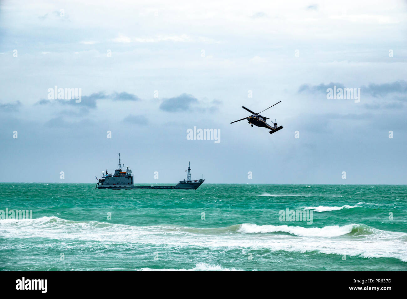 Miami Beach Florida National Salute to America's Heroes Air & Sea Show Sikorsky MH-60G/HH-60G Pave Hawk twin-turboshaft engine helicopter Atlantic Oce Stock Photo