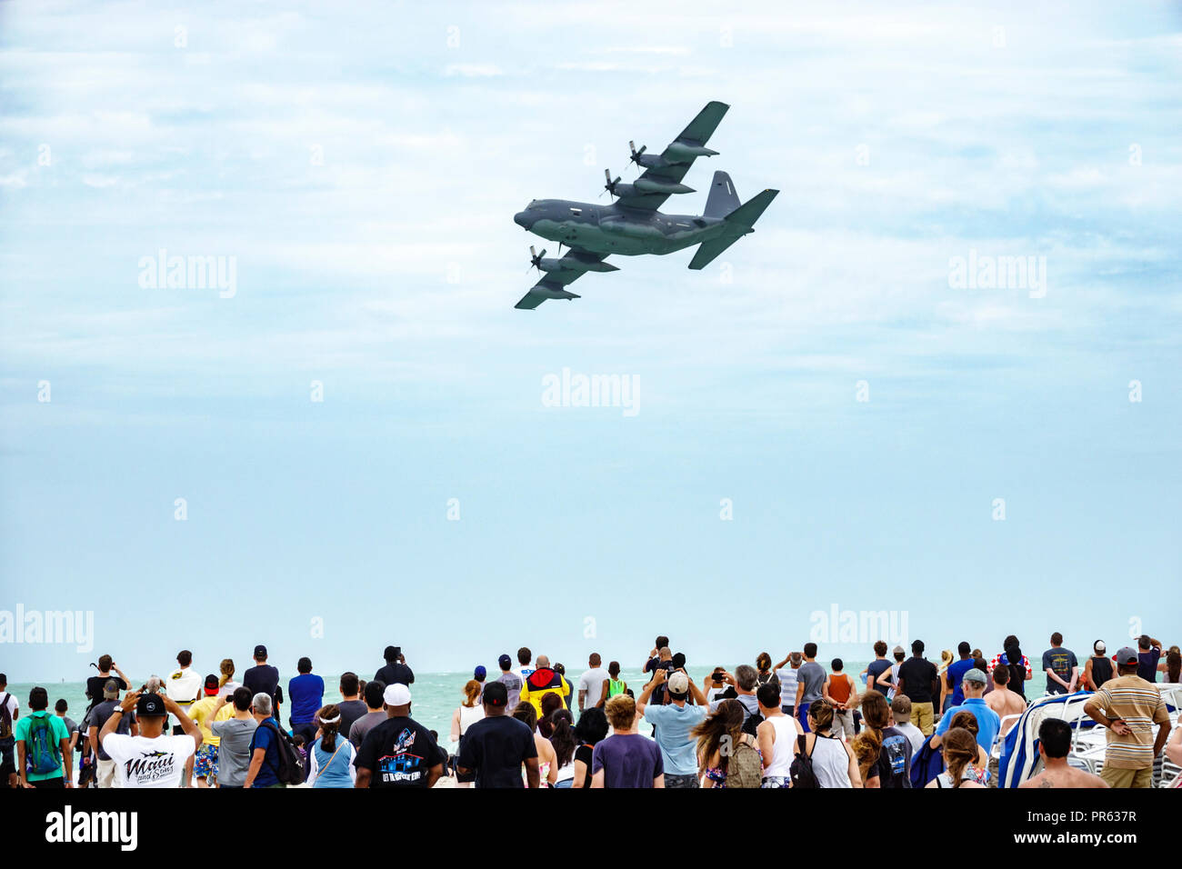 Miami Beach Florida National Salute to America's Heroes Air & Sea Show Lockheed C-130 Hercules four-engine turboprop military transport aircraft audie - Stock Image
