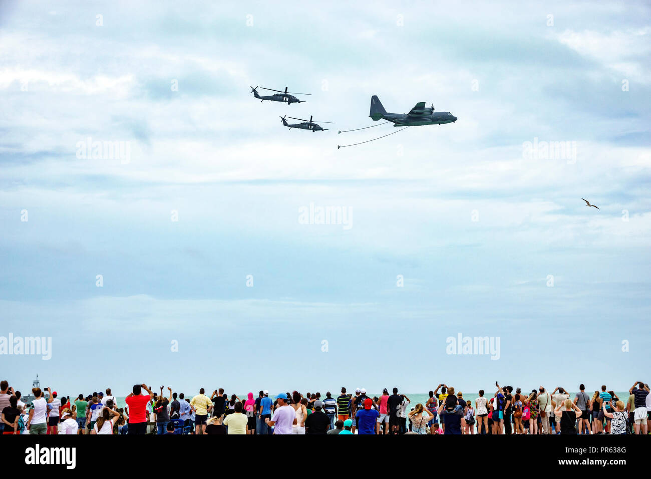Miami Beach Florida National Salute to America's Heroes Air & Sea Show Lockheed C-130 Hercules four-engine turboprop military transport aircraft Sikor - Stock Image