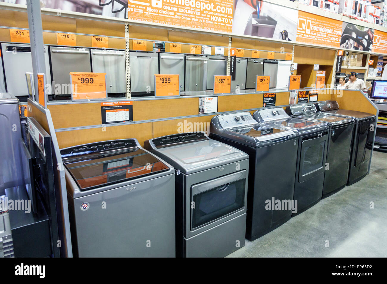 Miami Florida The Home Depot inside shopping top load clothes washer - Stock Image