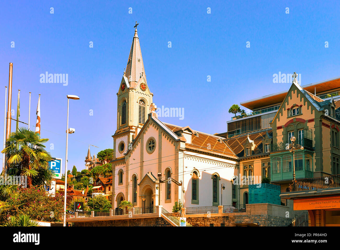 Montreux, Switzerland - August 28, 2016: Church at Geneva Lake in Montreux, Swiss Riviera - Stock Image